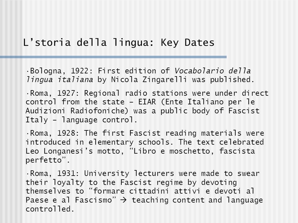 Lstoria della lingua: Key Dates Bologna, 1922: First edition of Vocabolario della lingua italiana by Nicola Zingarelli was published.