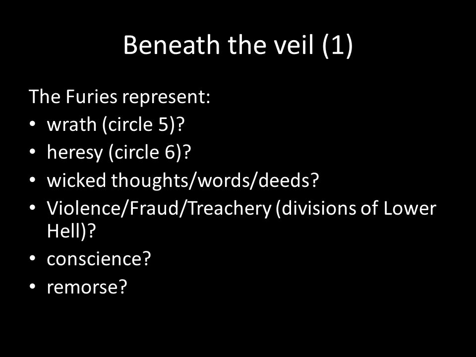 Beneath the veil (1) The Furies represent: wrath (circle 5)? heresy (circle 6)? wicked thoughts/words/deeds? Violence/Fraud/Treachery (divisions of Lo