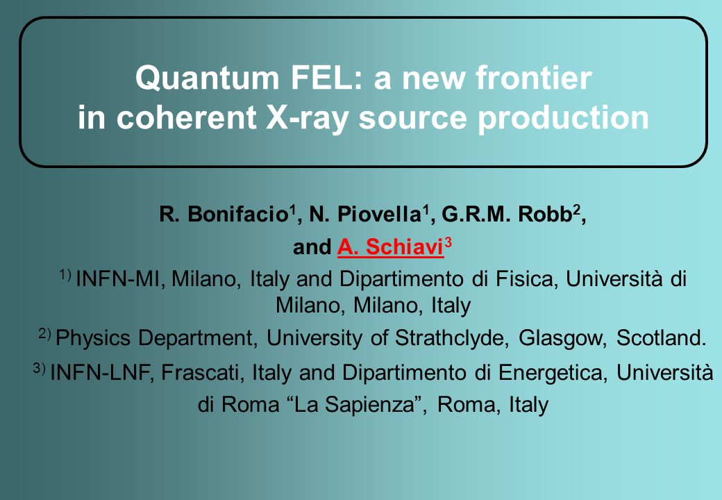 Quantum FEL: a new frontier in coherent X-ray source production R.