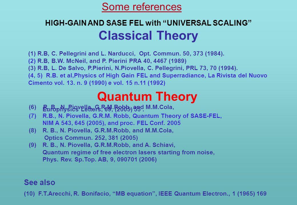 (6) R. B., N. Piovella, G.R.M.Robb, and M.M.Cola, Europhysics Letters, 69, (2005) 55. (7)R.B., N. Piovella, G.R.M. Robb, Quantum Theory of SASE-FEL, N