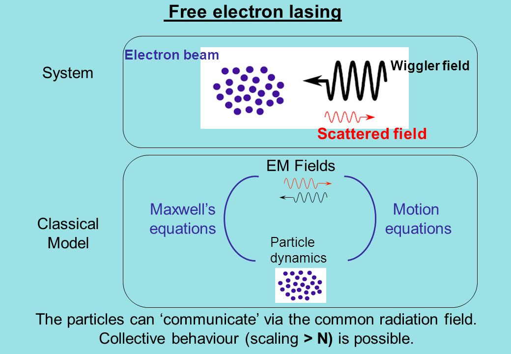 Free electron lasing System The particles can communicate via the common radiation field.