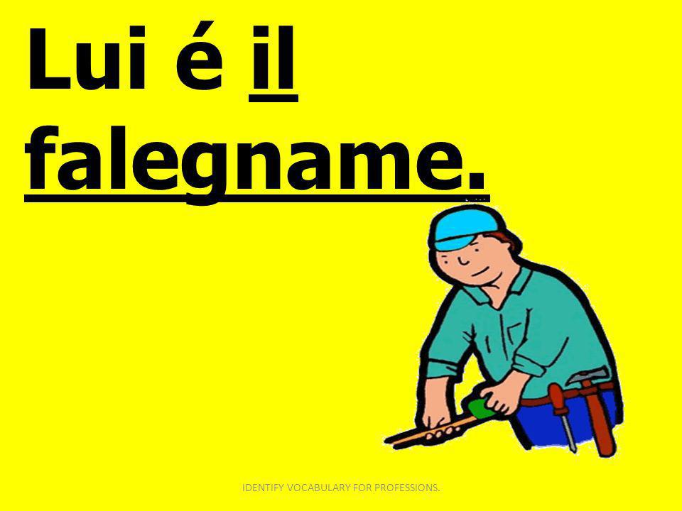 Lui é il falegname. IDENTIFY VOCABULARY FOR PROFESSIONS.