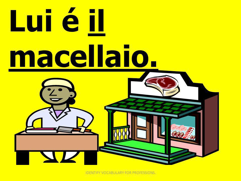 Lui é il macellaio. IDENTIFY VOCABULARY FOR PROFESSIONS.