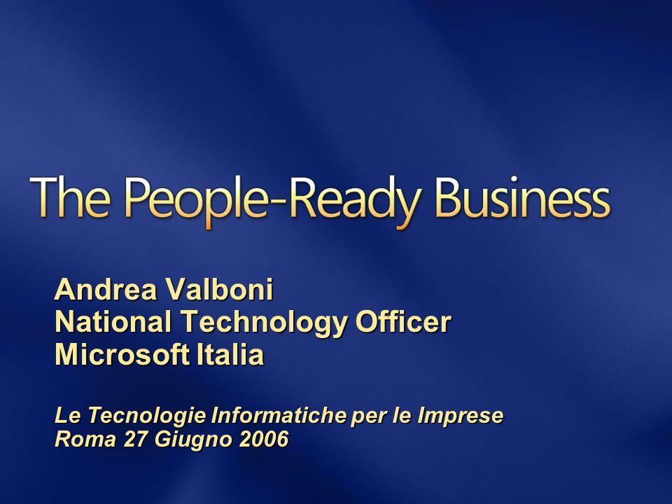 Andrea Valboni National Technology Officer Microsoft Italia Le Tecnologie Informatiche per le Imprese Roma 27 Giugno 2006