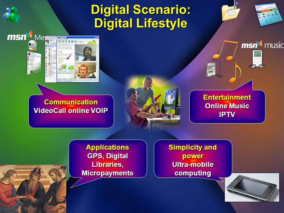 Communication VideoCall online VOIP Digital Scenario: Digital Lifestyle Entertainment Online Music IPTV Simplicity and power Ultra-mobile computing Applications GPS, Digital Libraries, Micropayments