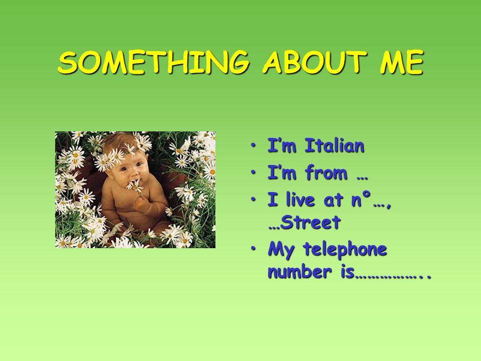 SOMETHING ABOUT ME Im ItalianIm Italian Im from …Im from … I live at n°…, …StreetI live at n°…, …Street My telephone number is……………..My telephone number is……………..