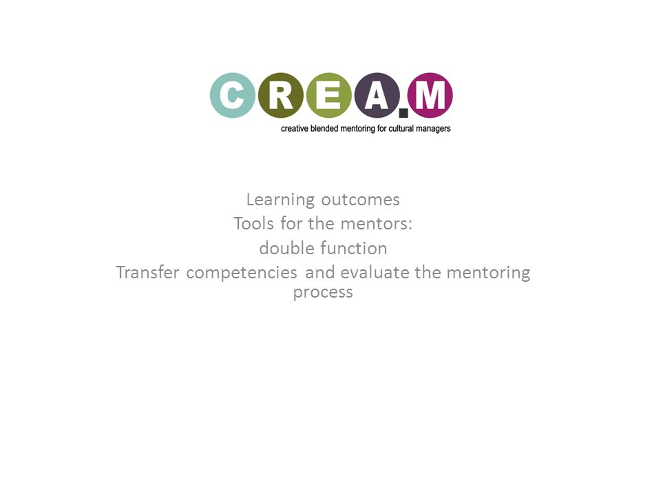 Learning outcomes Tools for the mentors: double function Transfer competencies and evaluate the mentoring process