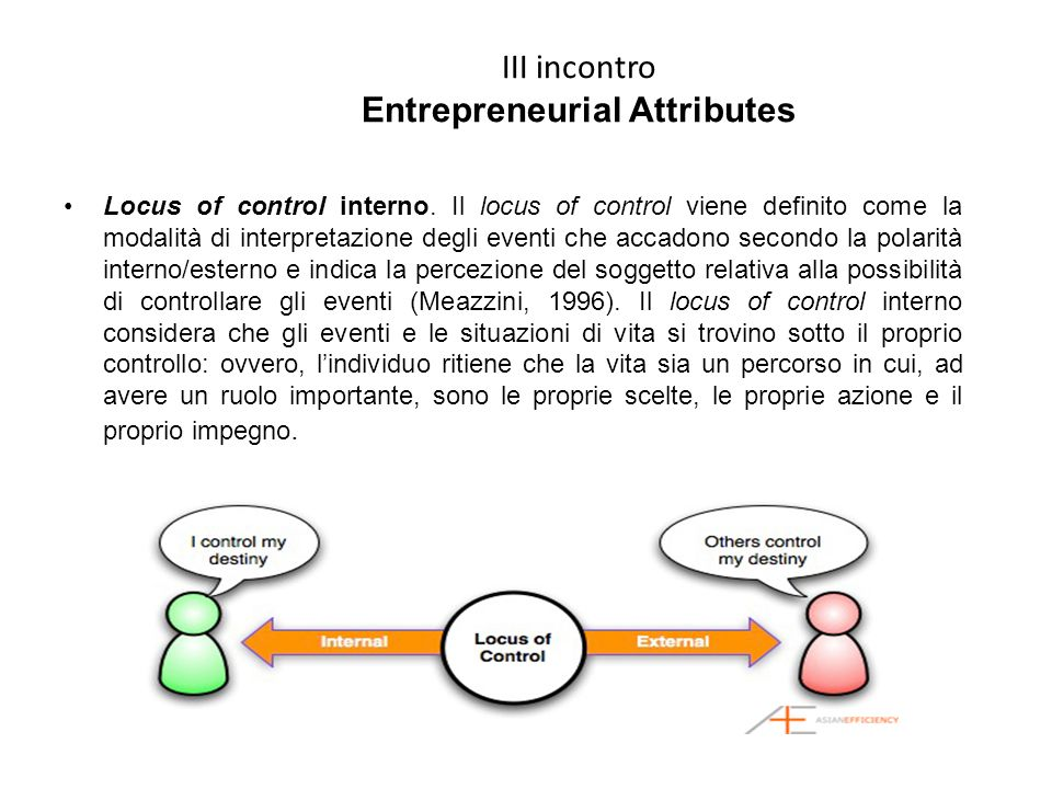 III incontro Entrepreneurial Attributes Locus of control interno.
