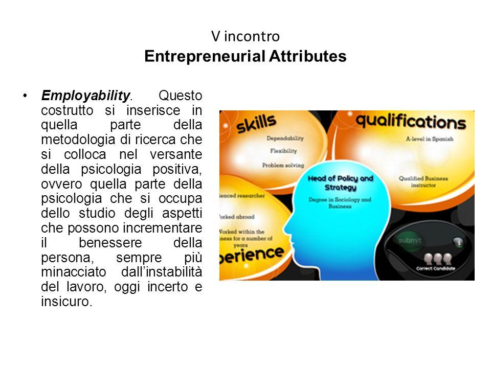 V incontro Entrepreneurial Attributes Employability. Questo costrutto si inserisce in quella parte della metodologia di ricerca che si colloca nel ver