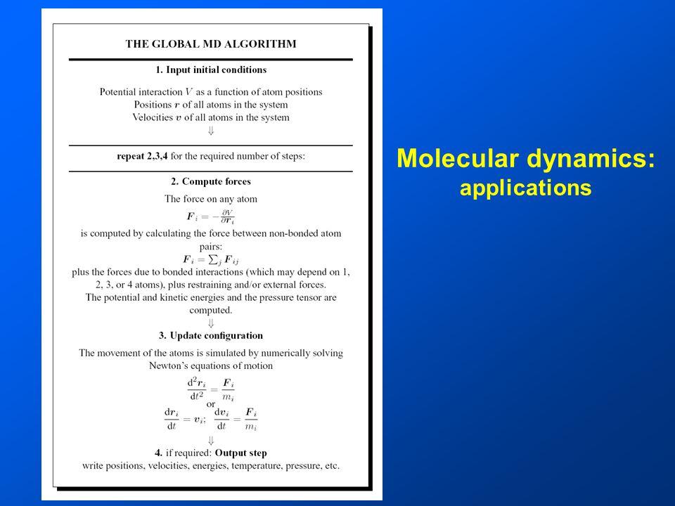 Molecular dynamics: applications