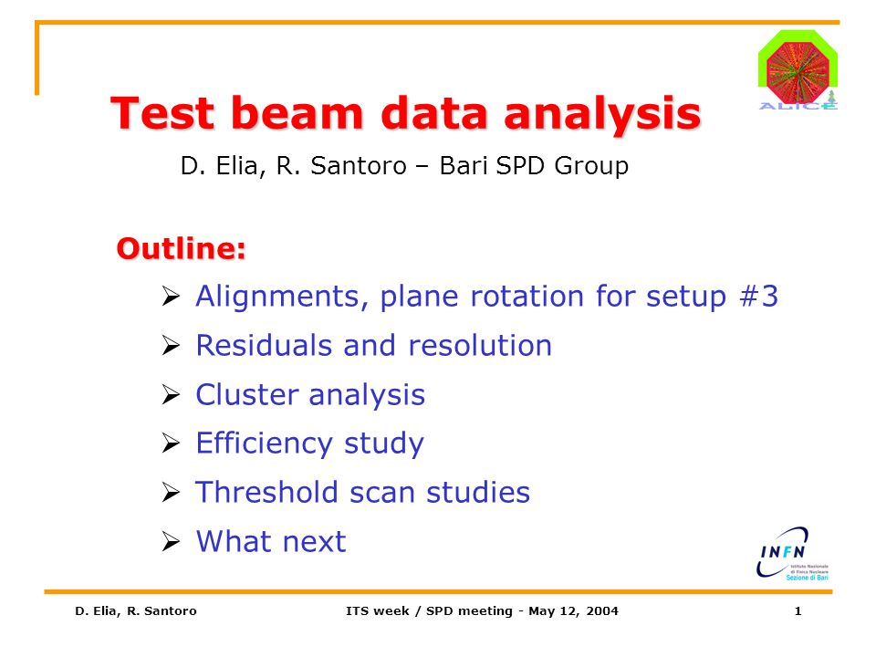 D. Elia, R. SantoroITS week / SPD meeting - May 12, 20041 Test beam data analysis D.