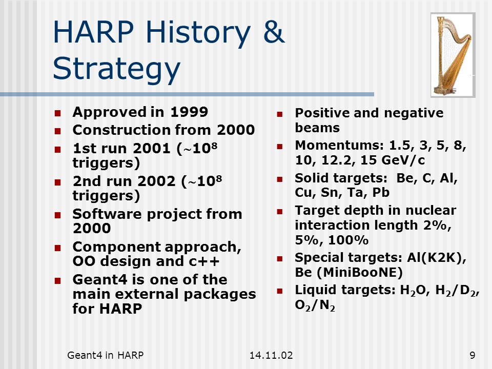 Geant4 in HARP14.11.0220 Hadron Production The process of hadron production is designed.