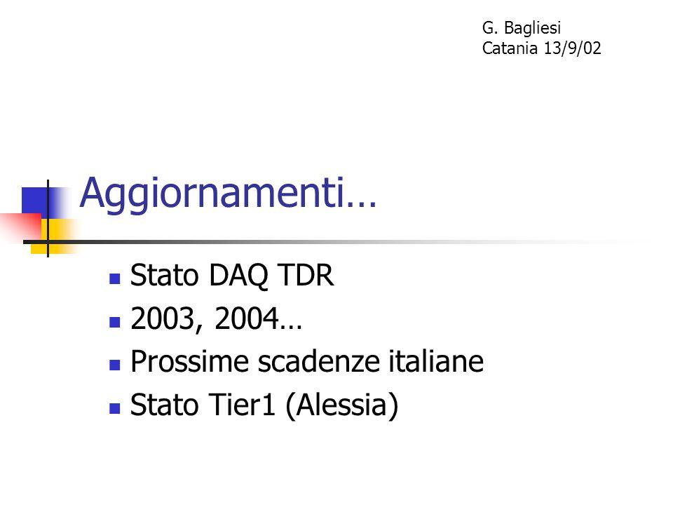 Aggiornamenti… Stato DAQ TDR 2003, 2004… Prossime scadenze italiane Stato Tier1 (Alessia) G. Bagliesi Catania 13/9/02