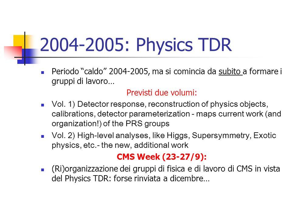 2004-2005: Physics TDR Periodo caldo 2004-2005, ma si comincia da subito a formare i gruppi di lavoro… Previsti due volumi: Vol. 1) Detector response,