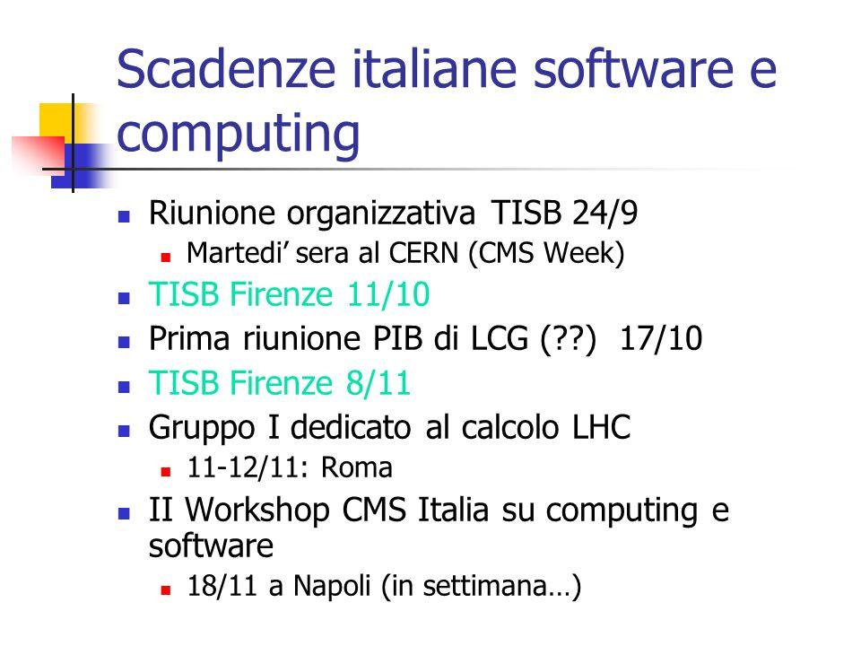 Scadenze italiane software e computing Riunione organizzativa TISB 24/9 Martedi sera al CERN (CMS Week) TISB Firenze 11/10 Prima riunione PIB di LCG (