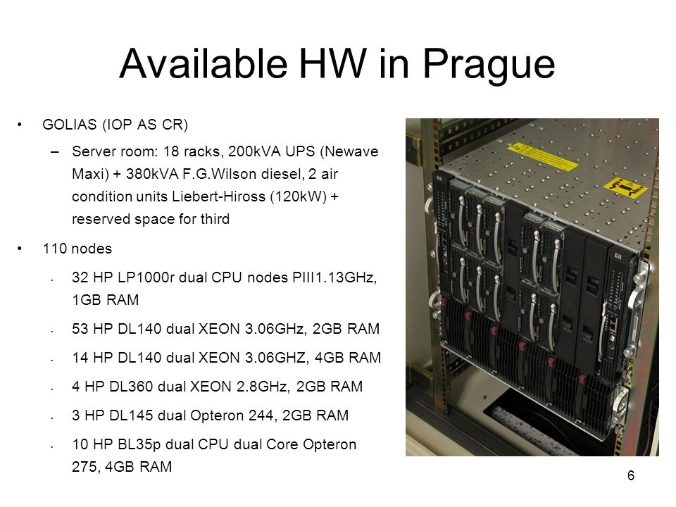 6 Available HW in Prague GOLIAS (IOP AS CR) –Server room: 18 racks, 200kVA UPS (Newave Maxi) + 380kVA F.G.Wilson diesel, 2 air condition units Liebert-Hiross (120kW) + reserved space for third 110 nodes 32 HP LP1000r dual CPU nodes PIII1.13GHz, 1GB RAM 53 HP DL140 dual XEON 3.06GHz, 2GB RAM 14 HP DL140 dual XEON 3.06GHZ, 4GB RAM 4 HP DL360 dual XEON 2.8GHz, 2GB RAM 3 HP DL145 dual Opteron 244, 2GB RAM 10 HP BL35p dual CPU dual Core Opteron 275, 4GB RAM