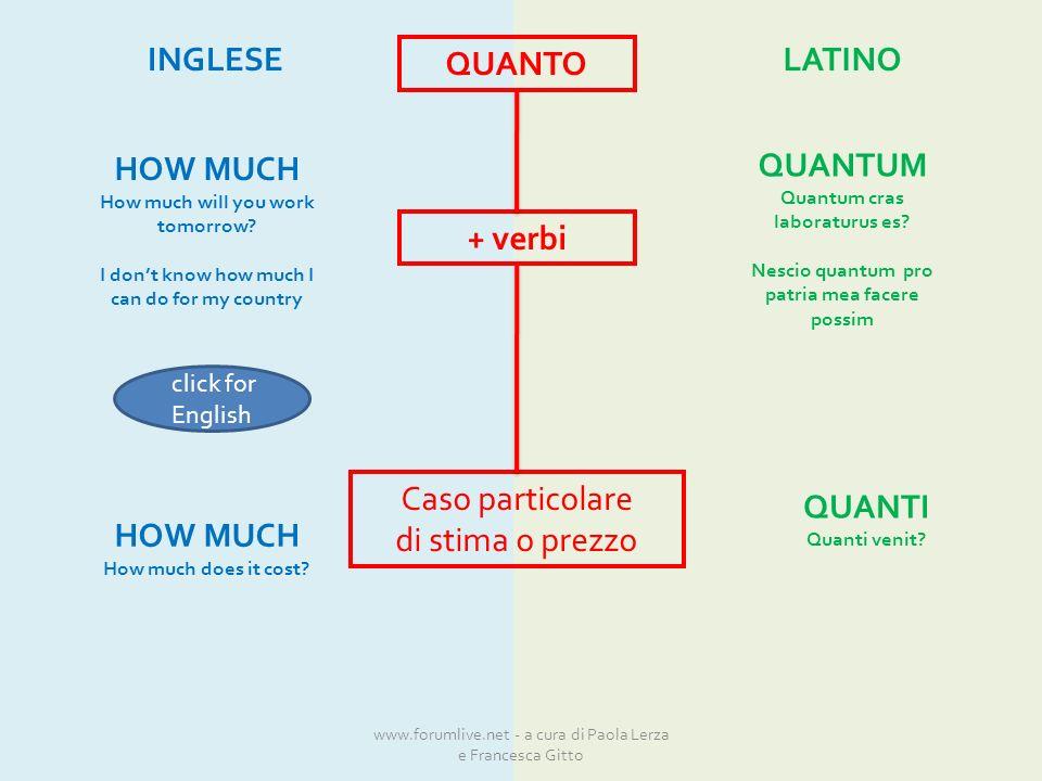 QUANTO + verbi Caso particolare di stima o prezzo INGLESELATINO QUANTUM Quantum cras laboraturus es.