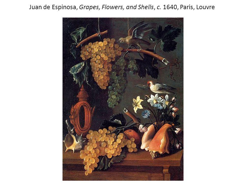 Juan de Espinosa, Grapes, Flowers, and Shells, c. 1640, Paris, Louvre