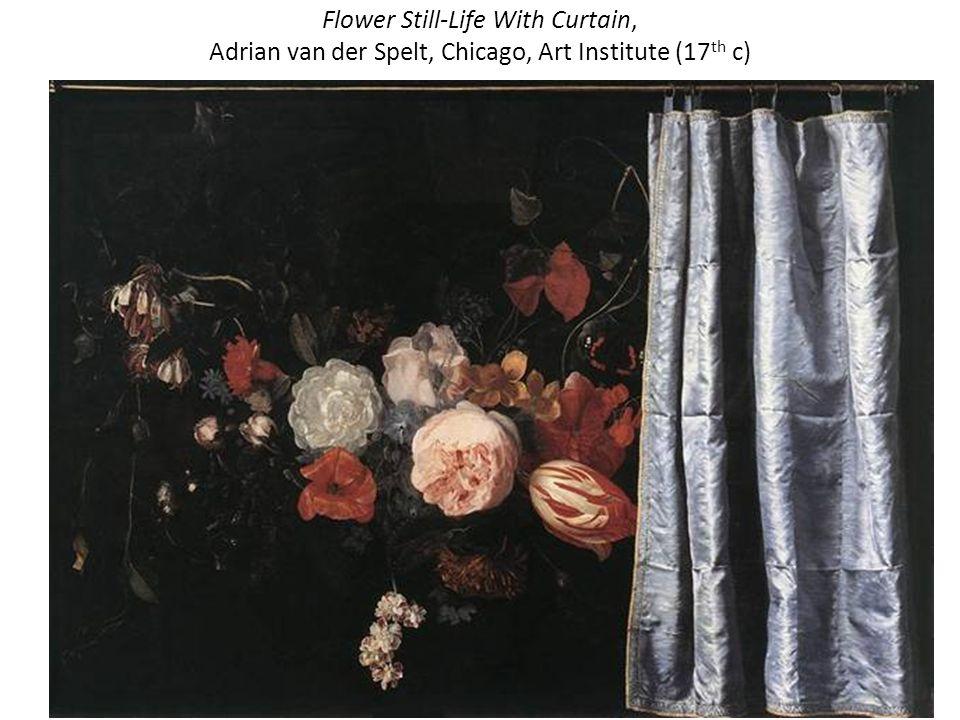 Flower Still-Life With Curtain, Adrian van der Spelt, Chicago, Art Institute (17 th c)