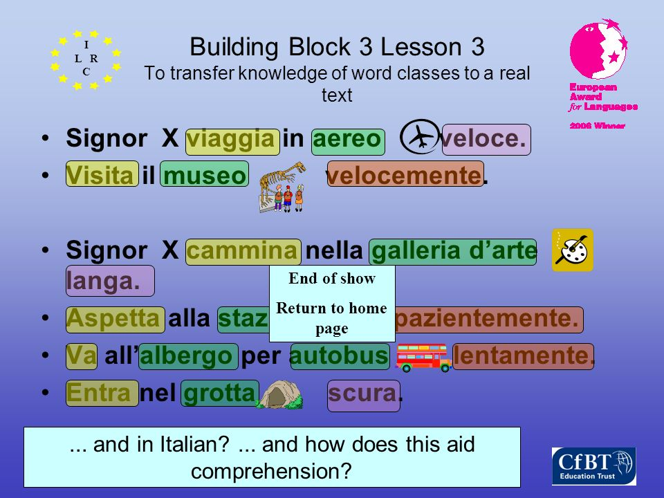 I L R C International Learning and Research Centre Building Block 3 Lesson 3 To transfer knowledge of word classes to a real text Signor X viaggia in aereo veloce.