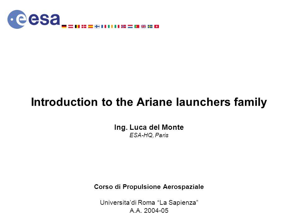 Introduction to the Ariane launchers family Ing. Luca del Monte ESA-HQ, Paris Corso di Propulsione Aerospaziale Universitadi Roma La Sapienza A.A. 200