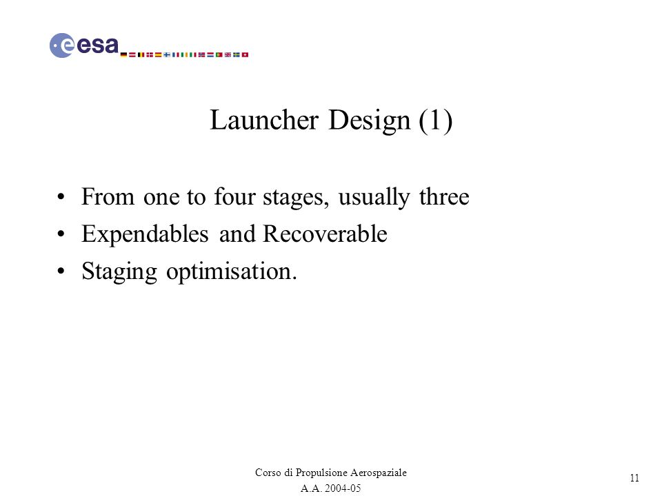11 Corso di Propulsione Aerospaziale A.A. 2004-05 Launcher Design (1) From one to four stages, usually three Expendables and Recoverable Staging optim