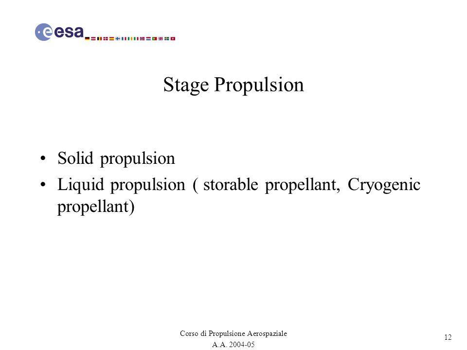 12 Corso di Propulsione Aerospaziale A.A. 2004-05 Stage Propulsion Solid propulsion Liquid propulsion ( storable propellant, Cryogenic propellant)