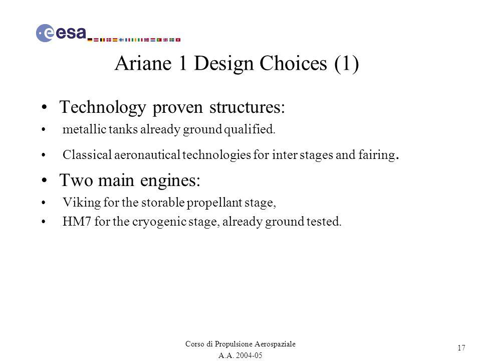 17 Corso di Propulsione Aerospaziale A.A. 2004-05 Ariane 1 Design Choices (1) Technology proven structures: metallic tanks already ground qualified. C