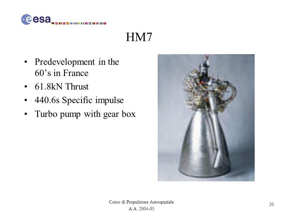 20 Corso di Propulsione Aerospaziale A.A. 2004-05 HM7 Predevelopment in the 60s in France 61.8kN Thrust 440.6s Specific impulse Turbo pump with gear b