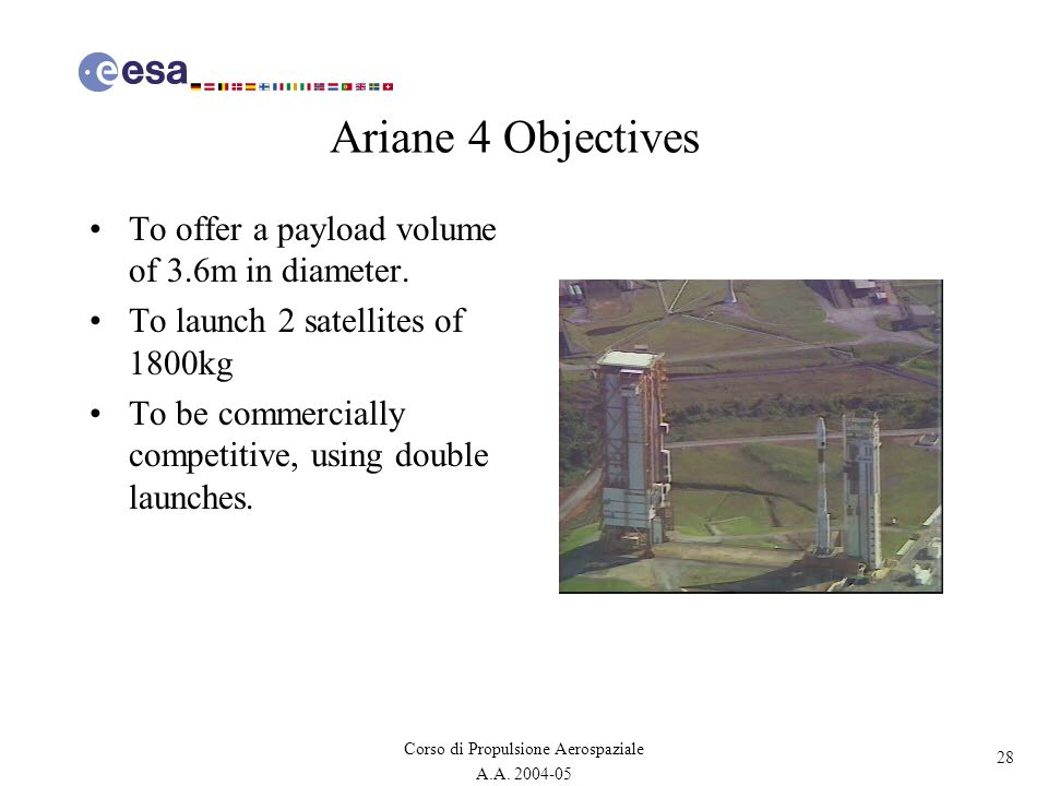 28 Corso di Propulsione Aerospaziale A.A. 2004-05 Ariane 4 Objectives To offer a payload volume of 3.6m in diameter. To launch 2 satellites of 1800kg