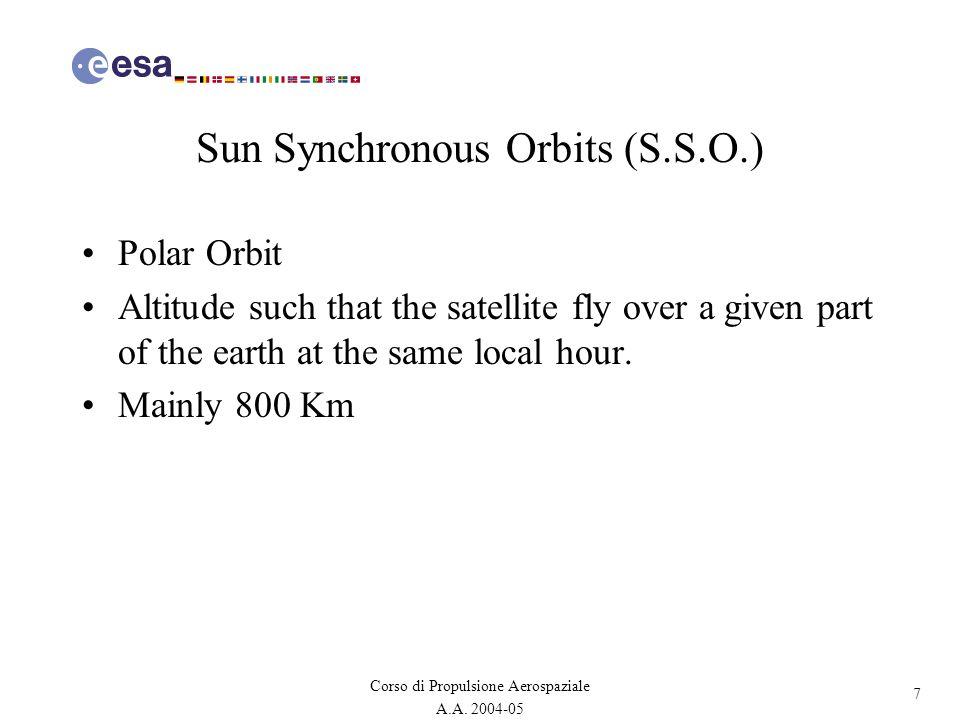 7 Corso di Propulsione Aerospaziale A.A. 2004-05 Sun Synchronous Orbits (S.S.O.) Polar Orbit Altitude such that the satellite fly over a given part of