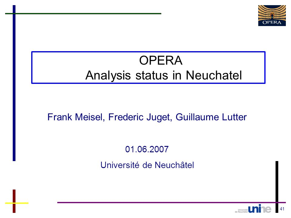 41 OPERA Analysis status in Neuchatel Frank Meisel, Frederic Juget, Guillaume Lutter 01.06.2007 Université de Neuchâtel