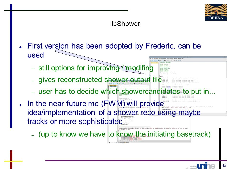 43 libShower First version has been adopted by Frederic, can be used still options for improving / modifing gives reconstructed shower output file user has to decide which showercandidates to put in...