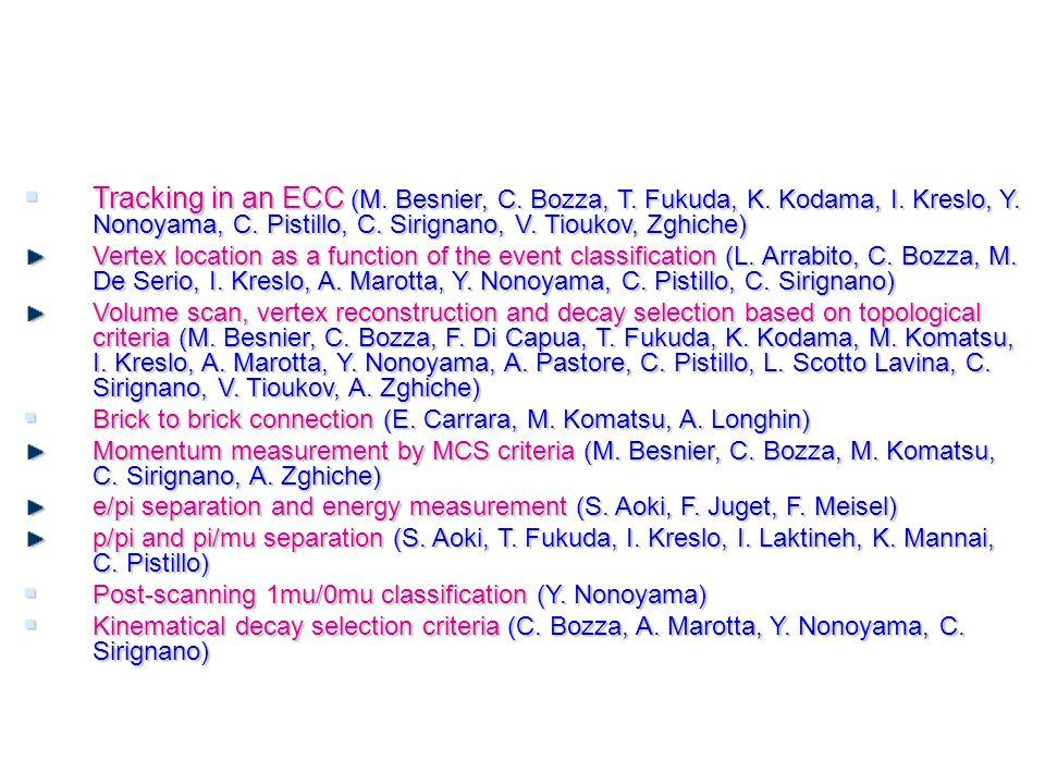 Tracking in an ECC (M. Besnier, C. Bozza, T. Fukuda, K.