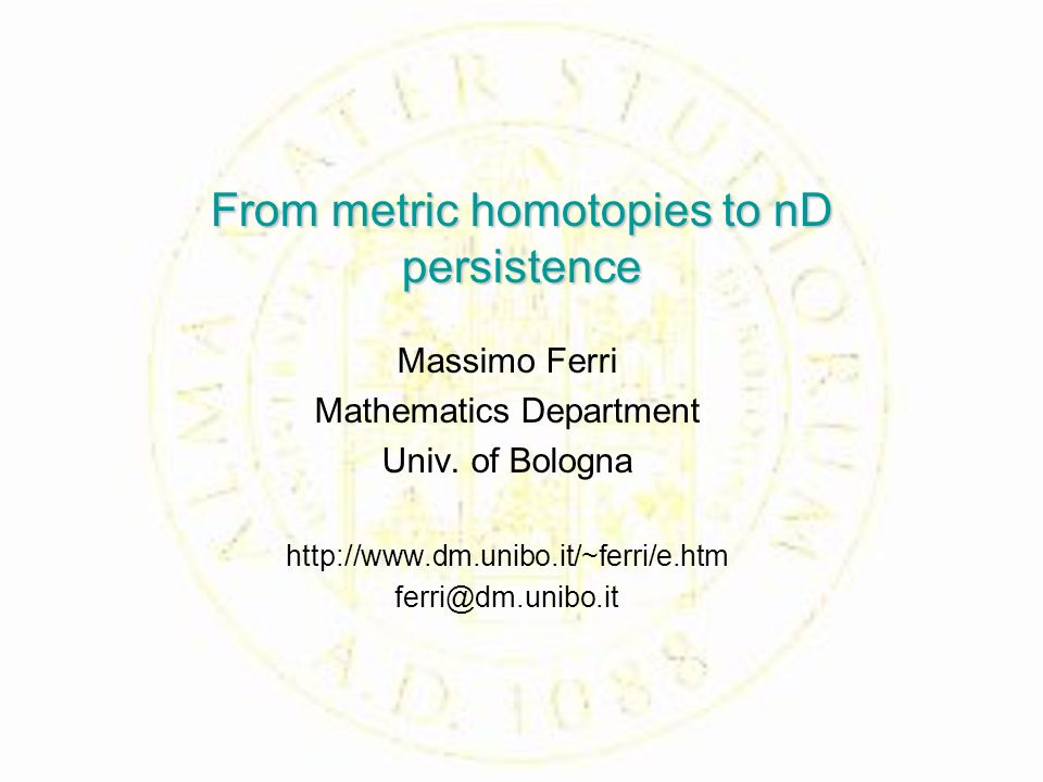 From metric homotopies to nD persistence Massimo Ferri Mathematics Department Univ.