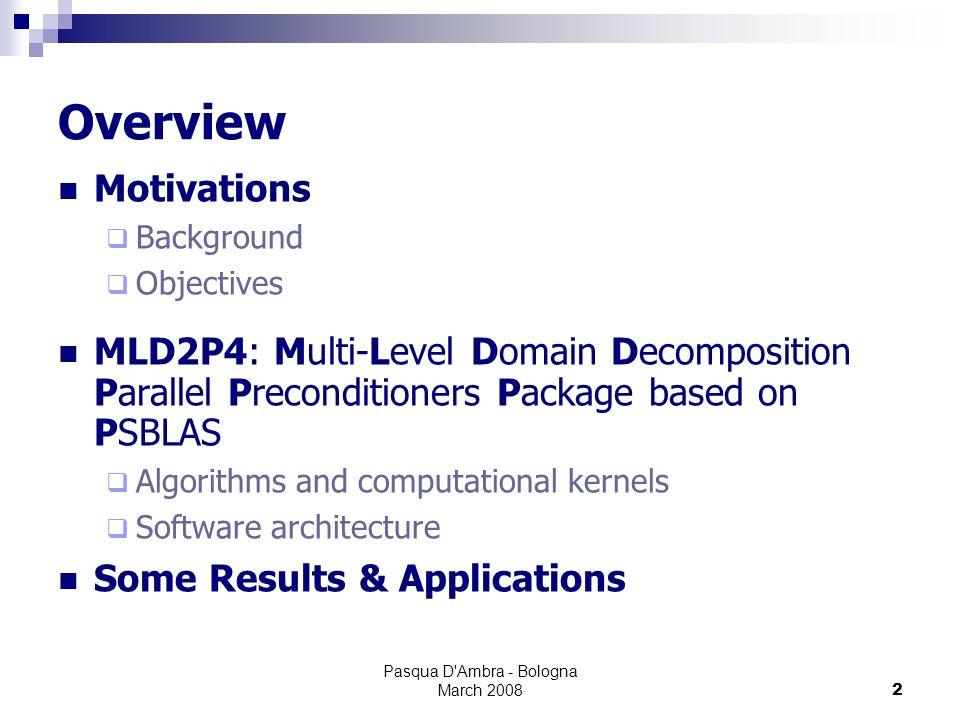 Pasqua D Ambra - Bologna March 200813 MLD2P4 Design Software Architecture Parallel Preconditioners BJA, ASM, RAS, ASH, ml-additive, ml-hybridpre, ml-hybridpost, ml-symmhybrid Appl.