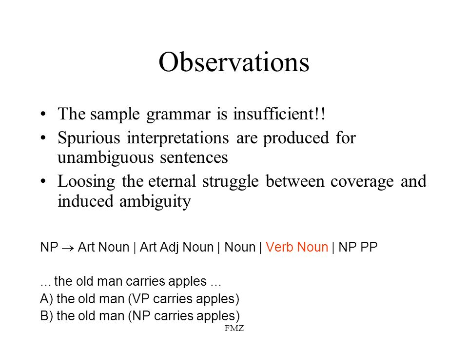 FMZ Observations The sample grammar is insufficient!.