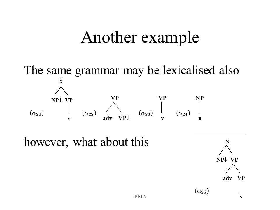 FMZ Another example The same grammar may be lexicalised also however, what about this
