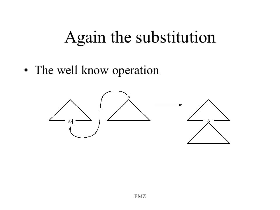 FMZ Again the substitution The well know operation
