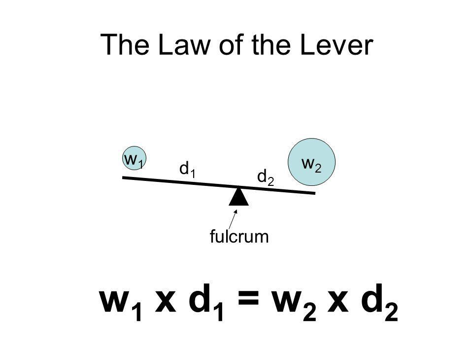 The Law of the Lever w2w2 w1w1 d1d1 d2d2 fulcrum w 1 x d 1 = w 2 x d 2