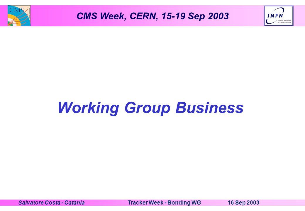 CMS Week, CERN, 15-19 Sep 2003 16 Sep 2003Tracker Week - Bonding WGSalvatore Costa - Catania Working Group Business