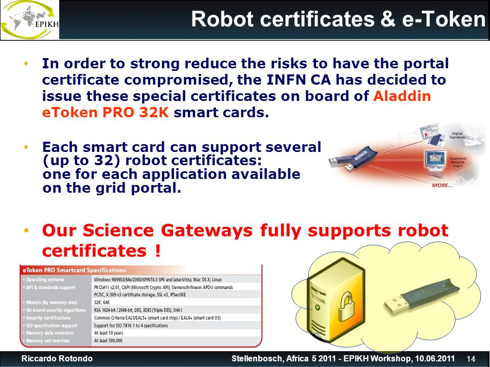 14 Stellenbosch, Africa 5 2011 - EPIKH Workshop, 10.06.2011Riccardo Rotondo Robot certificates & e-Token In order to strong reduce the risks to have the portal certificate compromised, the INFN CA has decided to issue these special certificates on board of Aladdin eToken PRO 32K smart cards.