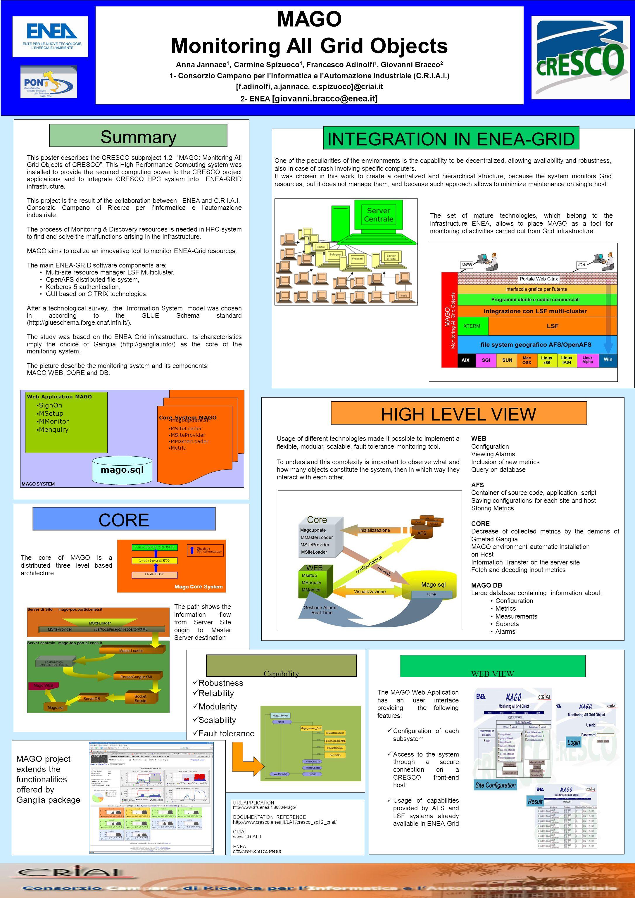 MAGO Monitoring All Grid Objects Anna Jannace 1, Carmine Spizuoco 1, Francesco Adinolfi 1, Giovanni Bracco 2 1- Consorzio Campano per lInformatica e lAutomazione Industriale (C.R.I.A.I.) [f.adinolfi, a.jannace, c.spizuoco]@criai.it 2- ENEA [giovanni.bracco@enea.it] This poster describes the CRESCO subproject 1.2 MAGO: Monitoring All Grid Objects of CRESCO.