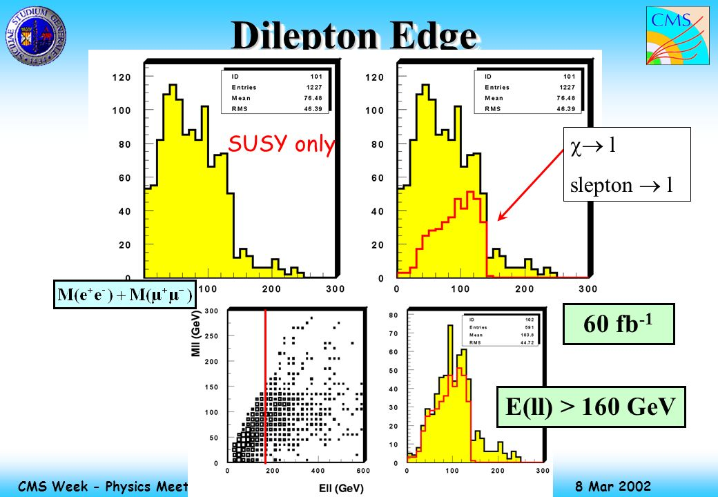 Massimiliano Chiorboli 8 Mar 2002 CMS Week - Physics Meeting Dilepton Edge 60 fb -1 E(ll) > 160 GeV SUSY only l slepton l