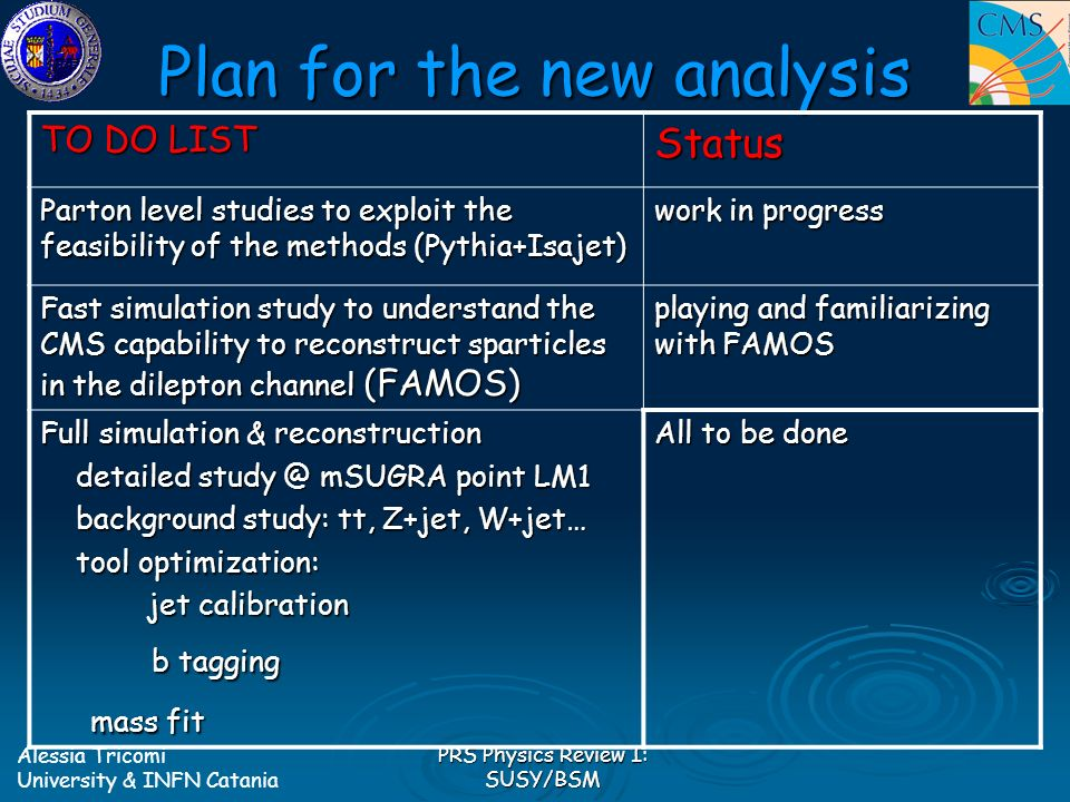 Alessia Tricomi University & INFN Catania PRS Physics Review I: SUSY/BSM Plan for the new analysis TO DO LIST Status Parton level studies to exploit the feasibility of the methods (Pythia+Isajet) work in progress Fast simulation study to understand the CMS capability to reconstruct sparticles in the dilepton channel (FAMOS) playing and familiarizing with FAMOS Full simulation & reconstruction detailed study @ mSUGRA point LM1 detailed study @ mSUGRA point LM1 background study: tt, Z+jet, W+jet… background study: tt, Z+jet, W+jet… tool optimization: tool optimization: jet calibration jet calibration b tagging b tagging mass fit mass fit All to be done