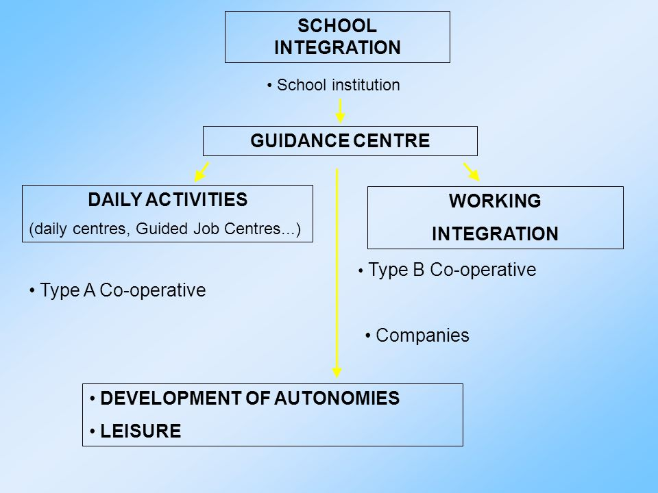 SCHOOL INTEGRATION family Health Services Child Assessment certification functional diagnosis SCHOOL (in co-operation with health services and family) functional dynamic profile individualised educational project Local Health Unit – Social Services Assistant teacher Social and health Operator