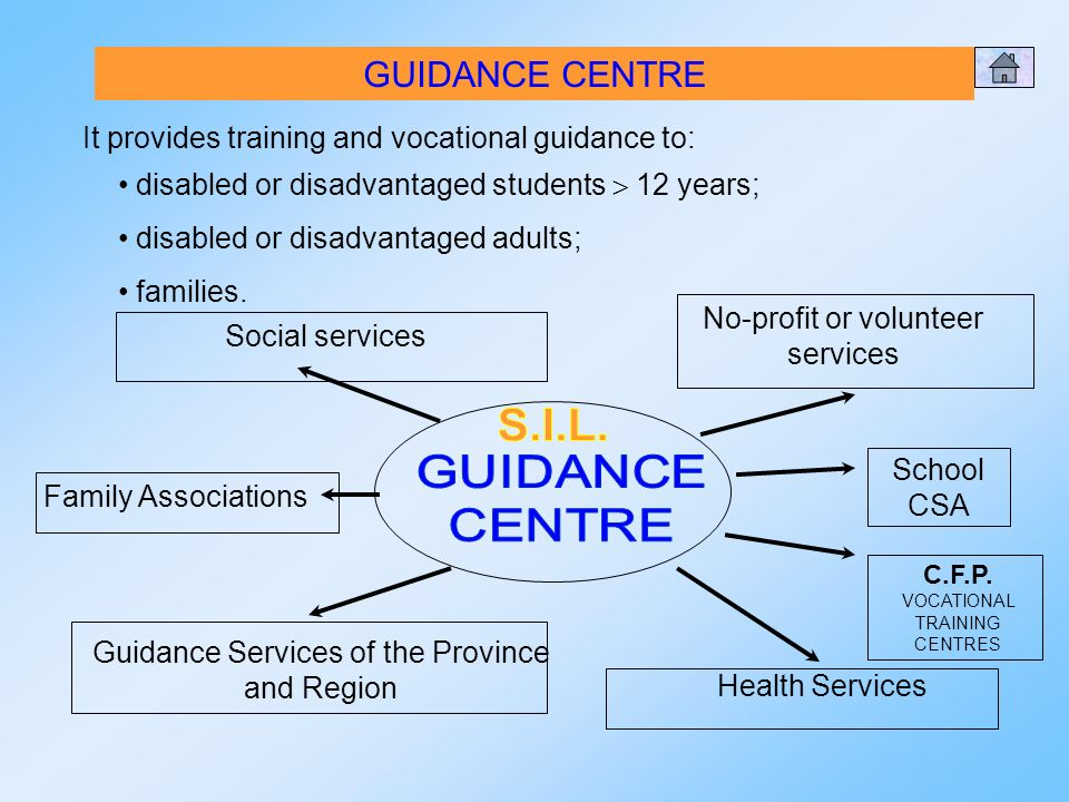 GUIDANCE CENTRE It provides training and vocational guidance to: disabled or disadvantaged students 12 years; disabled or disadvantaged adults; families.