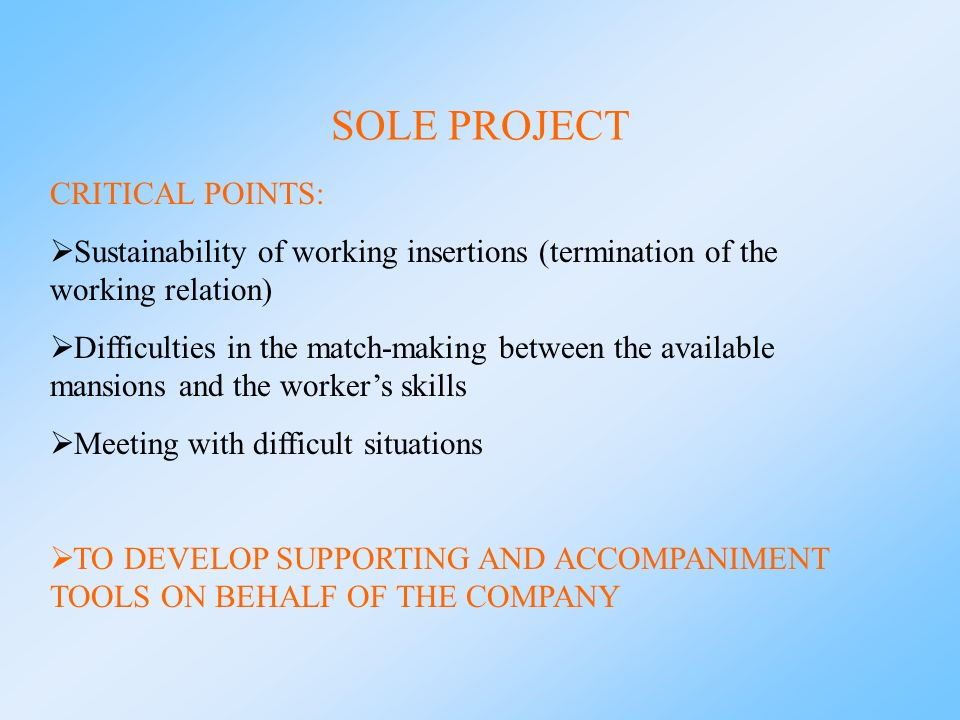 SOLE PROJECT CRITICAL POINTS: Sustainability of working insertions (termination of the working relation) Difficulties in the match-making between the available mansions and the workers skills Meeting with difficult situations TO DEVELOP SUPPORTING AND ACCOMPANIMENT TOOLS ON BEHALF OF THE COMPANY