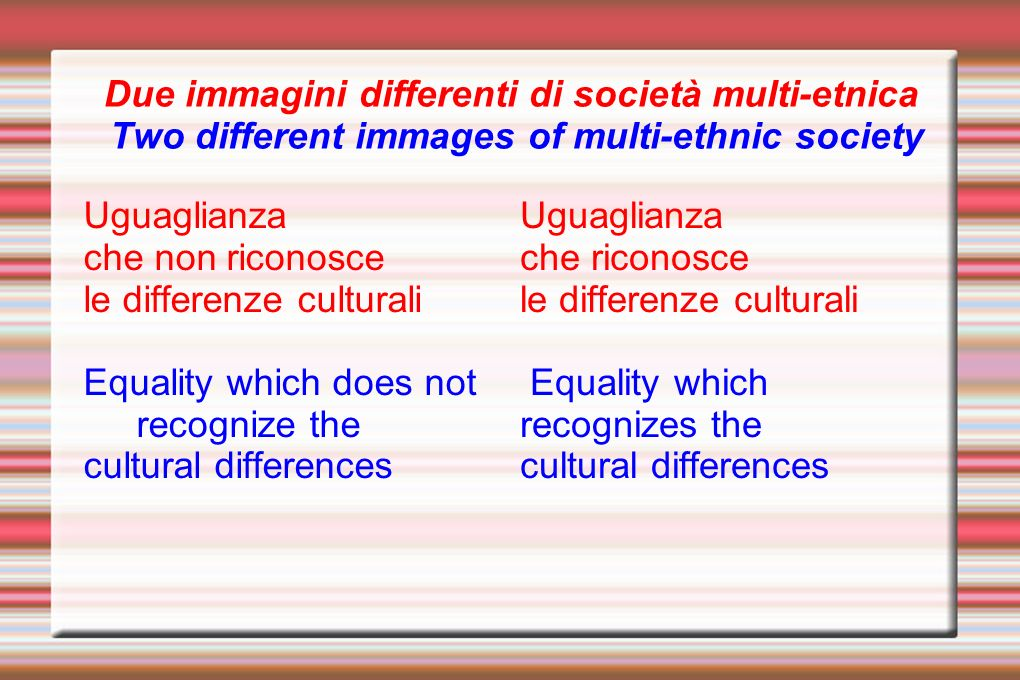 Uguaglianza che non riconosce le differenze culturali Equality which does not recognize the cultural differences Uguaglianza che riconosce le differenze culturali Equality which recognizes the cultural differences Due immagini differenti di società multi-etnica Two different immages of multi-ethnic society
