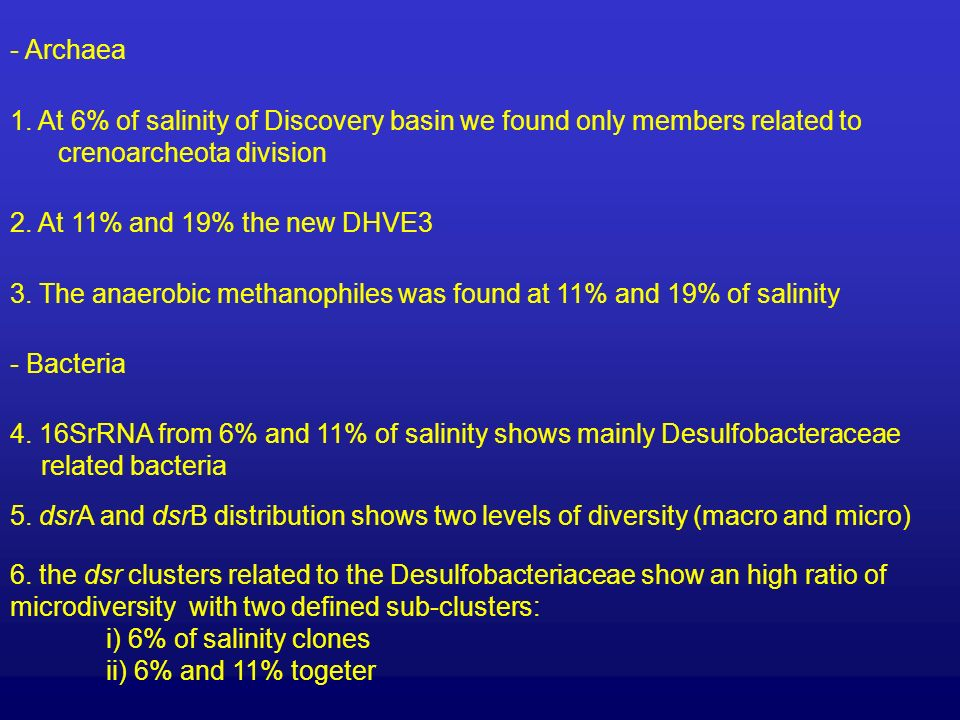 1. At 6% of salinity of Discovery basin we found only members related to crenoarcheota division 2.